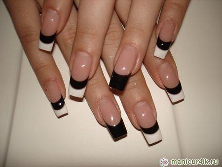 дизайн ногтей черный френч фото: